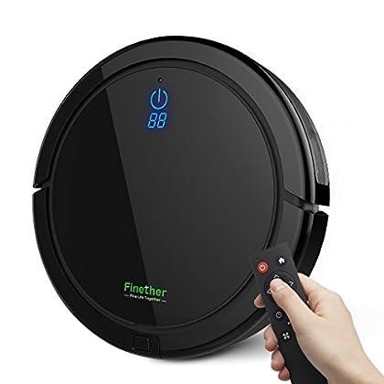 Finether-Robot Aspirador Aspiradora de Limpieza Robot de Piso para Hogar con Control Remoto, Trapo de Recambio, Ideal para Madera, Azulejo, Mármol, Piso de Alfombra, Negro