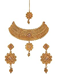 Jewels Gold Alloy Traditional Antique Golden Contemporary Handmade Funky Designer Necklace With Earrings Set &...