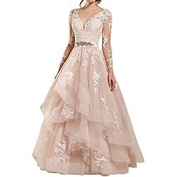 Vestido de Boda Vestido de Novia Mujer Vestidos de Fiesta Largo Manga Larga Tul V-Cuello Rosa EUR42