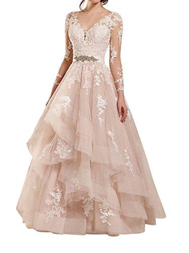 JAEDEN Damen Prinzessin Langarm Hochzeitskleider Lang Tüll Rüschen V-Ausschnitt Brautkleid Ballkleid Champagner EUR38 (Rüschen Tüll)