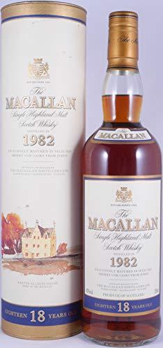 Macallan 1982 18 Years Sherry Oak Highland Single Malt Scotch Whisky 43,0{5a97cca8cf7c00e919b82183fa7c26942e64cea551e7ba5f89d6e0255cc1f4ed} Vol. - seltene Originalabfüllung eines erstklassigen old Style Macallan Single Malt!