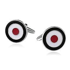 Idea Regalo - Aundiz Uomo Acciaio Inossidabile Gemelli Camicia Nero Bianco Rosso Bullseye Rotondo Gemelli Camicia