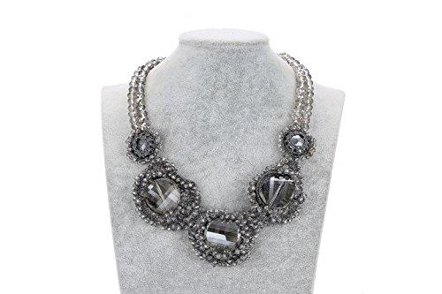 Ideen Kostüme Tween (Doppelseitig Kristall Perlen mit fünf Blumen Design für Damen handgefertigt Schmuck Länge: 19+ 6,3cm)