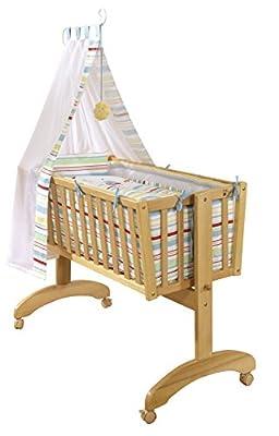 Roba 8946 V55 - Set de cuna completo con barrotes planos (incluye estructura, colchón, juego de cama, protector de colchón, dosel con soporte, acolchado, dispositivo de bloqueo, 90 x 40 cm)