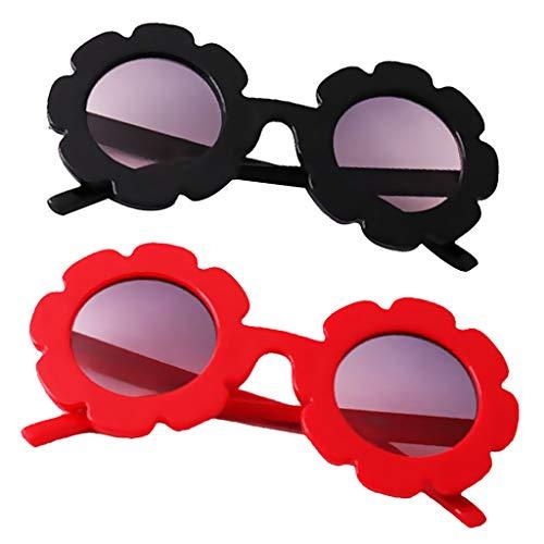 B Blesiya Nette Blume Sonnenbrille UV400 Polarisiert Kinderbrille Baby Mädchen aus Plastik - Schwarz + Rot