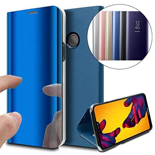 COTDINFOR Huawei P8 Lite 2017 Funda Espejo Ultra Slim Ligero Flip Funda Clear View Standing Cover Mirror PC + PU Cover Protectora Bumper Case para Huawei P8 Lite 2017 Blue Mirror PU MX.
