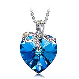 """Sivery """"Blessed Love"""" Pendant Necklace with Blue Swarovski Crystal,Mothers Day Gifts, Jewellery for Women"""
