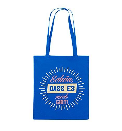 Comedy Bags - Schön, dass es mich gibt! - Jutebeutel - lange Henkel - 38x42cm - Farbe: Schwarz / Weiss-Neongrün Royalblau / Rosa-Beige