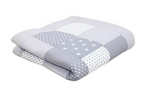 Imagen para Alfombra para gatear de ULLENBOOM ® con estrellas grises (manta para bebé de 120x120 cm; ideal como colcha para el cochecito; apta como alfombra de juegos)