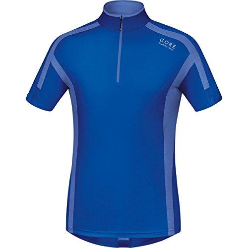 GORE RUNNING WEAR Herren Kurzarm-Laufshirt, GORE Selected Fabrics, AIR Zip Shirt, Größe L, Blau/Hellblau, SSZAIR
