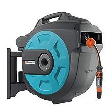 Gardena Comfort Wandslangbox 25 roll-up automatic: draaibare slanghaspel, 25 m Gardena kwaliteitsslang, korte vergrendelstops, incl. wandhouder, systeemonderdelen en spuit (8023-20)