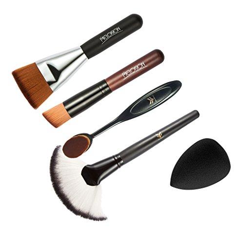 MagiDeal 5pcs Pinceaux Maquillage Poudre Fondation Contour Blush Brosses Eponge Bouffée Houppettes à Poudre Mélangeur Kit