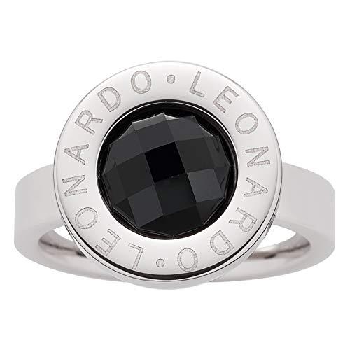JEWELS BY LEONARDO Damen-Ring Matrix klein, Edelstahl mit schwarzem facettiertem Glasstein, Größe 18, 016605