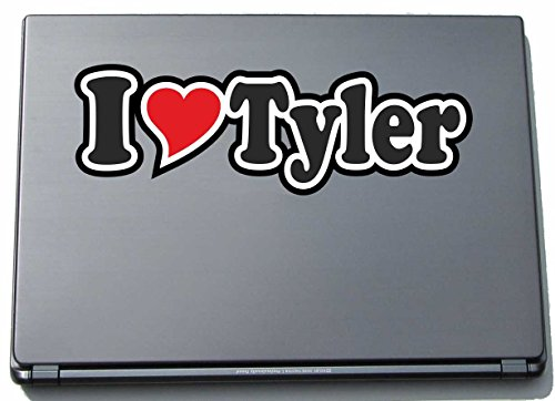 INDIGOS UG - Aufkleber - I Love Heart Decal Sticker Laptopskin 297 mm - Ich Liebe - I Love Tyler - Laptop Netbook Computer - Sticker mit Namen vom Mann Frau Kind