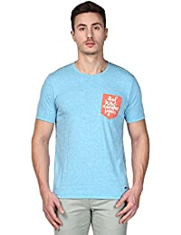 Park Avenue Regular Fit Crew Neck Half Sleeve Dark Blue Cotton Blend Printed T-Shirt for Men