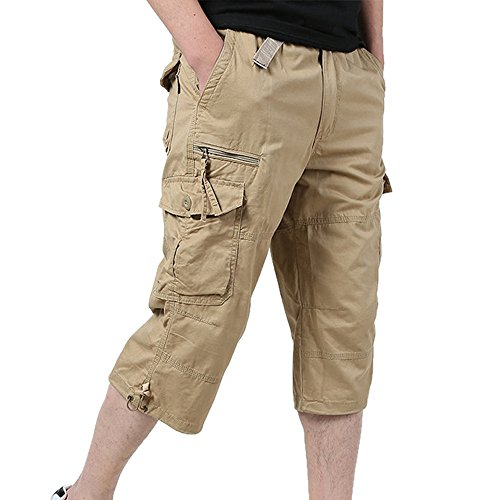 GreatestPAK Herren Overalls Sommer große Taille Baggy Pants Multi-Pocket Hosen Lose Beiläufige Stretch Cropped Male Hosen,Khaki,XL (EU 48)