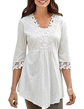 QUICKLYLY Camisetas Mujer Baratas Blusas Tallas Grandes EN Ofertas de Elegantes con Encaje de Fiesta Top
