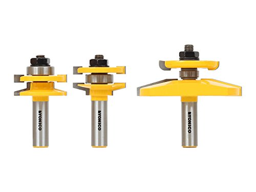 Yonico 12350 3 Bit Raised Panel Cabinet Door Router Bit Set with Bevel 1/2-Inch Shank by Yonico -