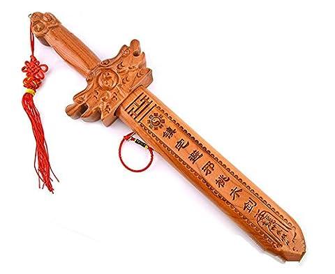 WGE Small Peach Wood Schwert Anhänger Dragon Und Phoenix Schwert Walnut Carving Handwerk Kinder Spielzeug Schwert, Messer