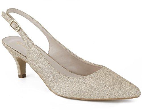 Greatonu Womens Gold Gliter Adjustable Sling Back Court Shoes Low Heel Dressy...