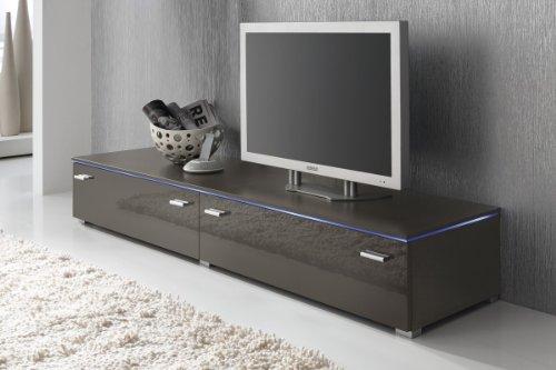 Lowboard TV Schrank TV-Element 180 cm grau lavagrau Fronten Hochglanz, optional LED-Beleuchtung, Beleuchtung:ohne Beleuchtung