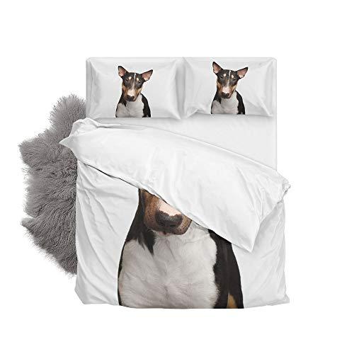Orediy Bettwäscheset Bullterrier Hund Bettbezug mit Kissenbezug, 2-teiliges Set, Einzel-/Doppelbett, 168 x 228 cm, Polyester, Single/Twin (Hund Bettwäsche Twin)
