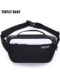 Buyworld Tinyat Men Shoulder Fanny Bag Waterproof Canvas Waist Bag Pack Money Phone Belt Bag Pouch Casual Travel...