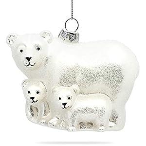 SIKORA BS465 Eisbär Familie Christbaumschmuck Glas Figur Weihnachtsbaum Anhänger