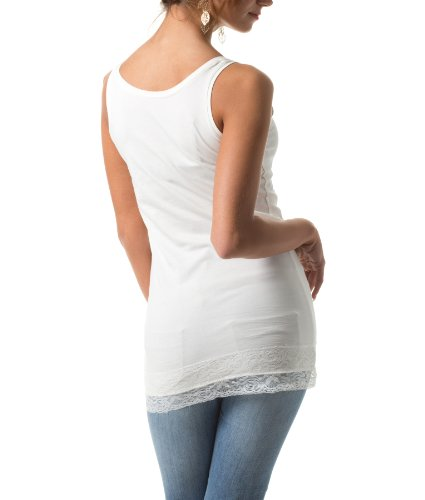 Tom Tailor Damen Basics basic long top white (8210)