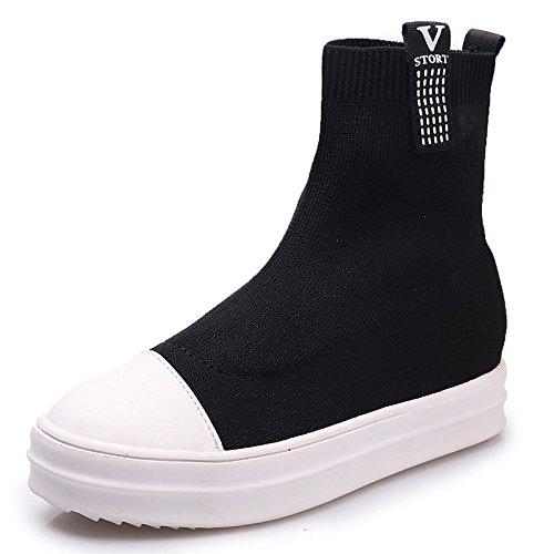 Ugg-stiefel-socken (In Herbst und Winter Stiefel All-Match elastische Socken Schuhe, schwarz, 36 EU)