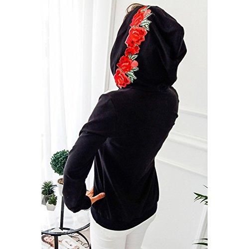 Juleya Sweat-shirt à capuche Femme Femmes pullover Loose Fit Chemises à manches longues Papillon Manteau à imprimé fleur Sweat à capuche Tops Pulls 5 Couleurs S M L XL Noir B
