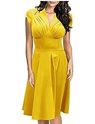 Good dress Pliegues del vestido en el pecho,Amarillo,M