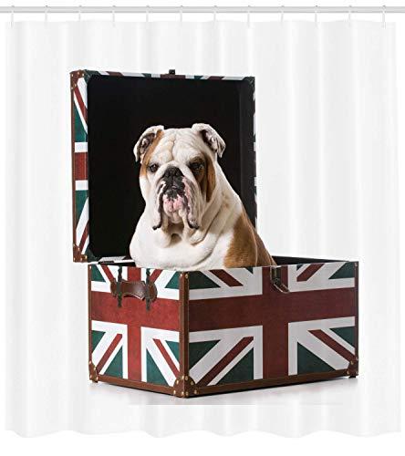 tgyew English Bulldog Shower Curtain, Cute Bulldog Sitting in Union Jack Britain Themed Box Patriotic Design, Cloth Fabric Bathroom Decor Set with Hooks, 66x72 inches Extra Long, Red Blue -