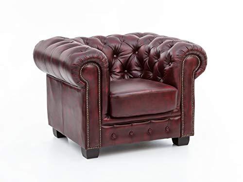 Woodkings Chesterfield Sessel rot Echtleder Bürosessel Polstermöbel antik Designsessel Federkern...