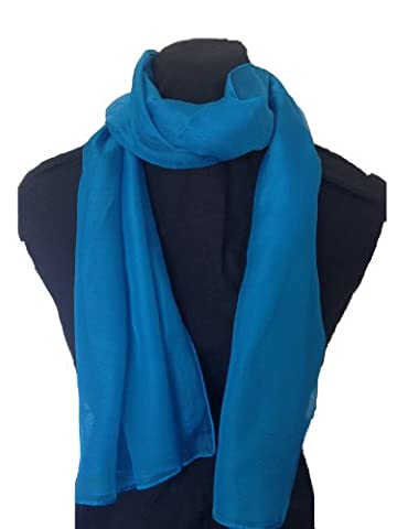 Plaine sarcelle style de mousseline écharpe. Jolie écharpe mince. Cadeau fantastique. (Plain teal chiffon style scarf thin pretty scarf great for any outfit lovely gift)