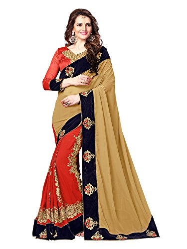 Elevate-Women-Embroidered-Bollywood-Georgette-Sari-Orange-Beige
