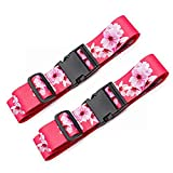Teeoff Luggage Straps Suitcase Belts Travel Bag Accessories Adjustable (Sakura- 2 Pack, 220CM)