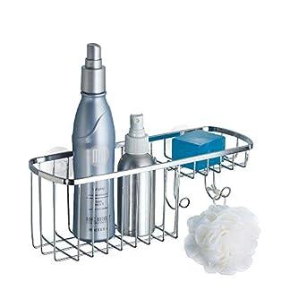 41XXKToSjdL. SS324  - mDesign Repisa para baño Colgante en Acero Inoxidable - Estante para Ducha con Lugar para champú, esponjas, rasuradoras y jabón - Baldas para baño con fijación con ventosas, sin Taladro - Plateado