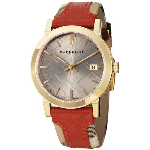 Burberry BU9016–Montre de Poignet pour homme, bracelet en cuir orange