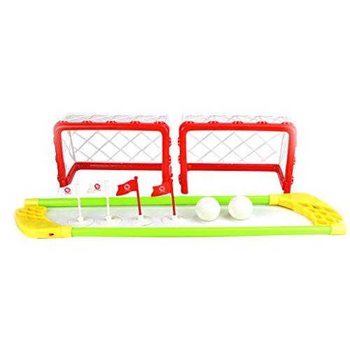 Mini Obiettivo Hockey Set 2 Reti 2 Stick 2 Palle Giochi All'aperto Interno Per Bambini