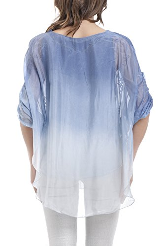 Laura Moretti - Blouse en soie brodée avec ouvertures latérales Bleu