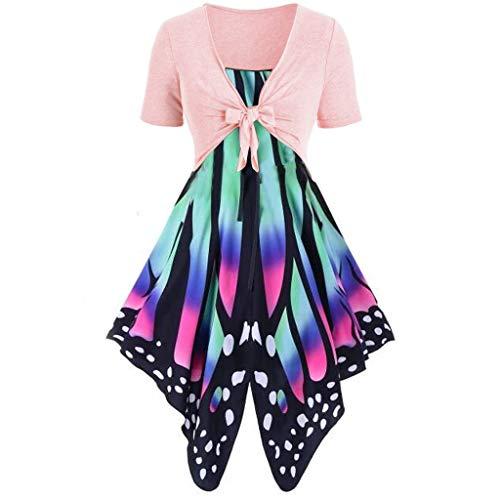 Zolimx Frauen Sommer frisch Schmetterling Print Kleid Sling Pullover zweiteilig