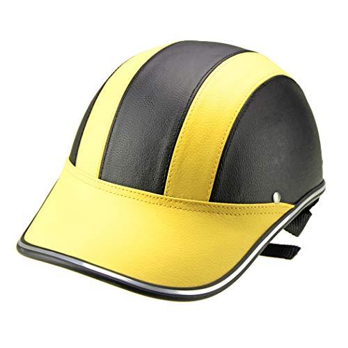 NLGZJY Casco Moto cap Elettrica Harley Mezza Cascos Estivo Caschi da Uomo E Donna Leggero,Yellow,OneSize