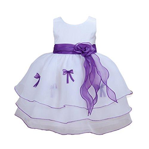 Cinda Mädchen Partykleid Weiß und Violett 74-80