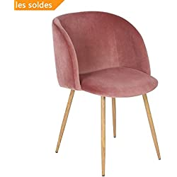 Sedoso Terciopelo Sillón de Relajación ,Sillón salón en estilo retro escandinavo,Silla de la sala de estar con piernas de acero fuerte y tela de terciopelo - Rosa roja