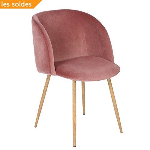 Setosa sedia di velluto con la gamba in acciaio solido e velluto tessuto sostegno per la schiena, poltroncina lounge style per salotto o sala da pranzo - rosa rossa