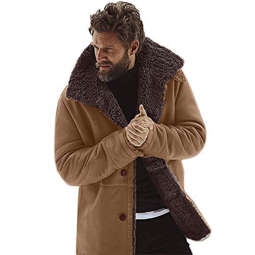 JiaMeng Chaqueta de Piel de Oveja de Invierno Abrigo de Lana cálida con Forro de imitación de Cordero de montaña Chaquetas Militar Cazadora para Hombre cálido Grueso Vintage