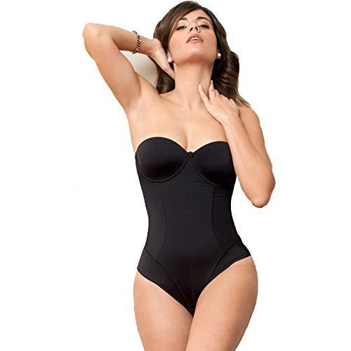 Selene - body donna in microfibra senza spalline nerea (nero, 3)