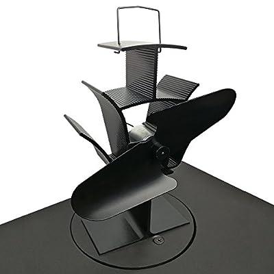 Lincsfire 2 Blade Heat Powered Stove Fan Warm Air Circulating for Wood/Log Burner/Fireplace - Eco Friendly | Black Steel