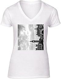Camiseta V Cuello para Mujer - Big Ben Londres by Margit Brack